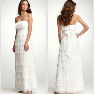 Ann Taylor Strapless Fringe Wedding Dress in Ivory